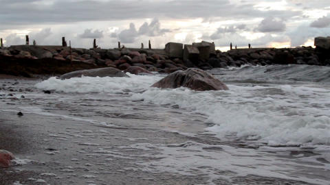 Tides Coming In The Rocky Shore stock footage