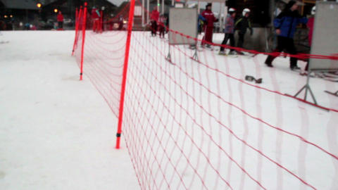 The red net on the ski resort Footage