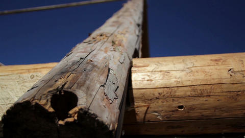Logs used in building old historic cabin log house ライブ動画