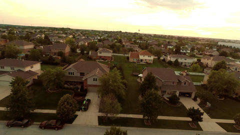 Aerial view houses in residential suburban neighbo Footage