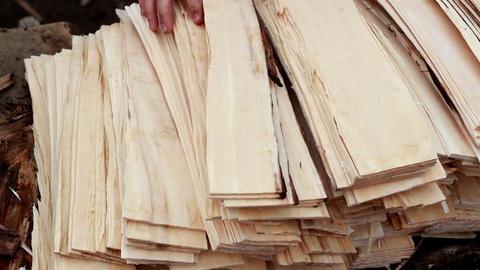 Piling cedar wooden shingle shake woodplanks Footage