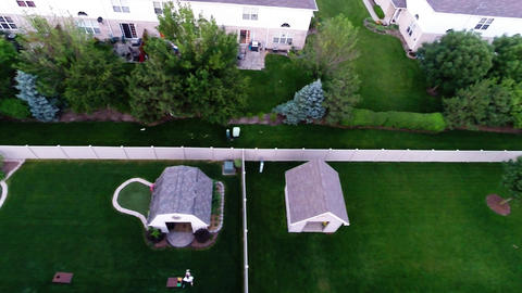 Aerial View Of Backyard Putting Green From In Air stock footage