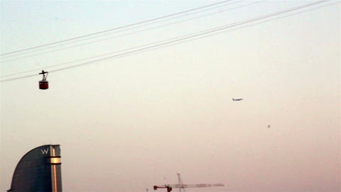 Airplane And Cable Car Moving stock footage