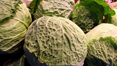 Big heads of cabbage in the stand Footage