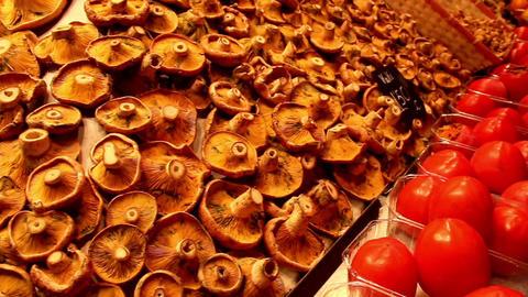Marketed pile of mushrooms tomatoes Footage