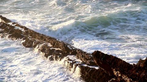 Waves smashing on the stones big waves splashing o Footage