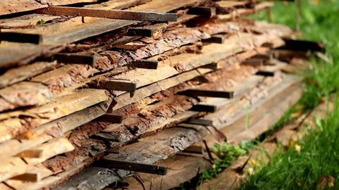 Wood sawmatrial planks piled Footage