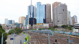Trains departing and arriving at the Melbourne cit Footage