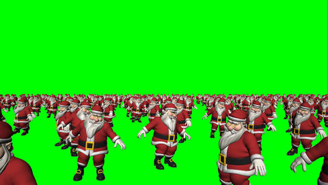 Dancing Santa Claus Crowd Loop (Green Screen) Animation