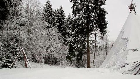 A big teepee on the snow Footage