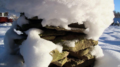 Pile of rocks covered with snow Footage
