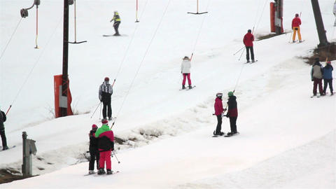 Tourists are skiing using the pulley Footage