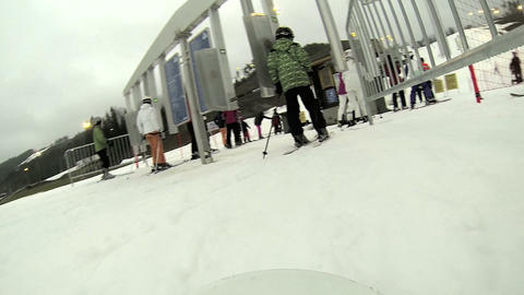 A man is skiing on the resort Footage