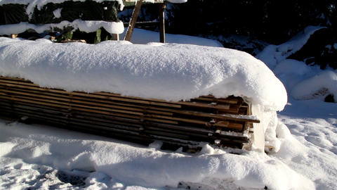 Set of woods piled full of snow Footage