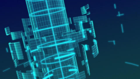 loopable footage of wireframe metal gird backgroun Animation