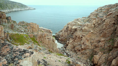 Barents Sea view from rocks summer Footage