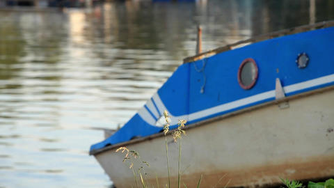 Old Boat On The Shore stock footage