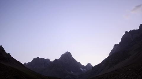 Moon illuminates the mountains. TimeLapse. Pamir Footage