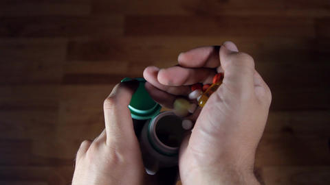 Man Hands Putting Back Pills In A Bottle, Medical, stock footage