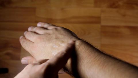 Man Applying Pain Cream On His Wrist, Massage, Pai Live Action