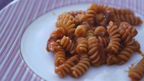 Pasta With Tomato Sauce stock footage