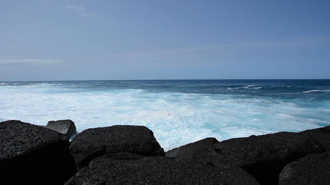 Puerto De La Cruz Beach, Tenerife stock footage