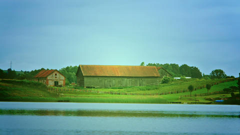 Large Barn On The Lake stock footage