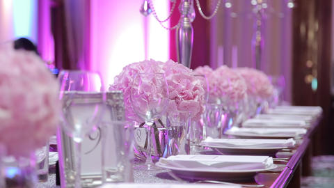 Table set for an event party or wedding reception Live Action