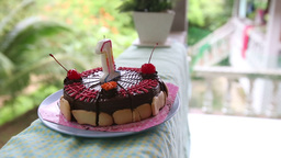 Cake For My Birthday For A Year With Cherries With stock footage