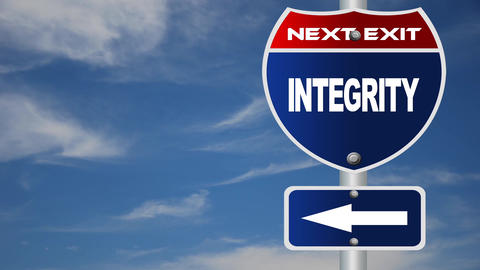 Integrity Road Sign With Flowing Clouds stock footage
