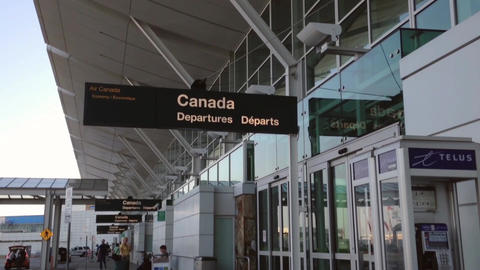 Soft Focus Of Air Canada Departures Entrance stock footage