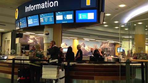 Information station inside YVR airport Footage