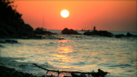 Orange sunset, slow motion 60fps Footage