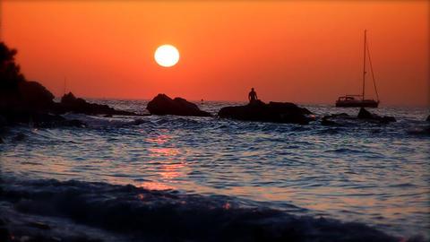 Boat at sunset, slow motion 60fps Live Action