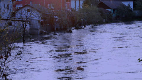 View of the flooded alley and houses Footage