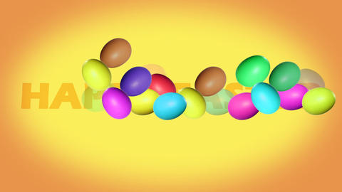 Inscription Happy Easter with animated colorful eg Live Action