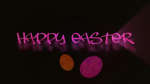 Inscritpion Happy Easter with eggs animated ライブ動画