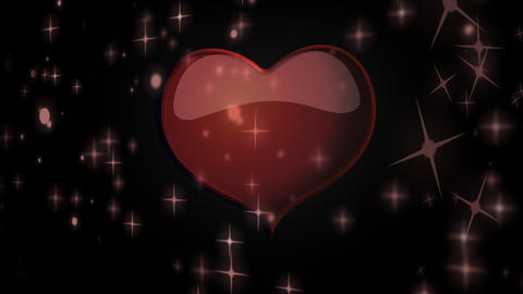 Red Heart Floating Among Stars Animation For Valen stock footage