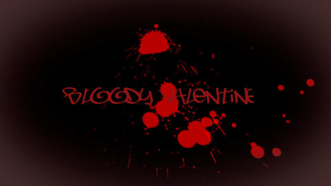Animated inscription Bloody Valentine with bloody  Footage