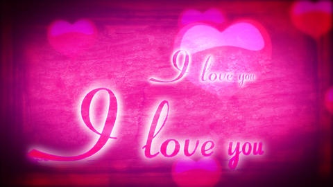 Animated inscription I love you and heart on pink  Footage