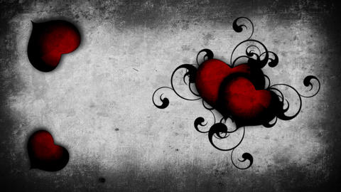 Bloody Red Hearts On A Wall Background stock footage