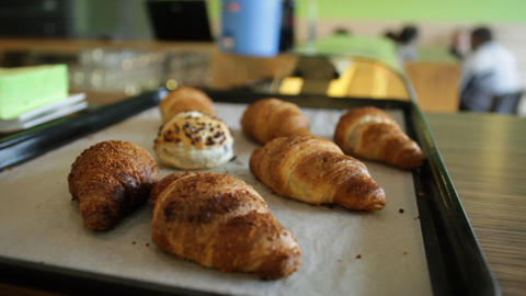 Croisants on baking tray Live Action