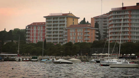 port of Portorose with some hotels and riviera in  Live Action