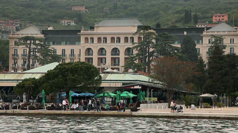 Restaurand On Riviera Of Portorose And Old Hotel I stock footage