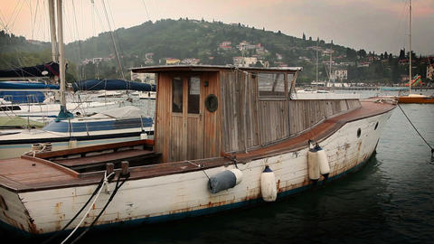 old fishing boat docked in the harbour Footage