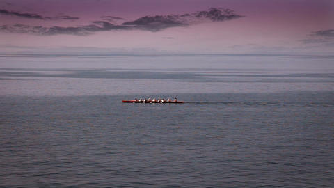 Panoramic team rowing in boat on the sea with nice Live Action