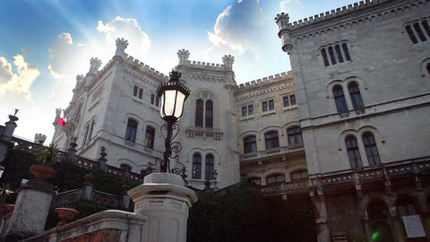 Castle Miramar-Italy With Added Clouds And Sun stock footage