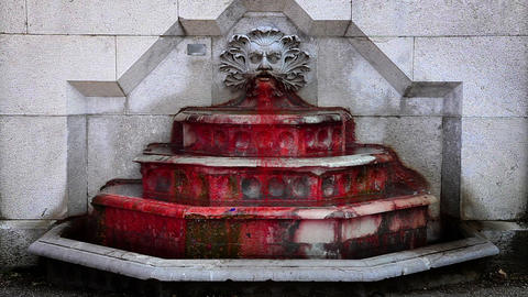 running blood instead of water in fountain Footage