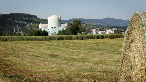 grain field with factory in the back Footage