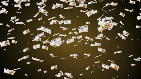 50 Euros Falling 01 Stock Video Footage